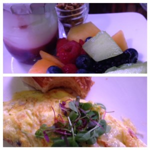 fruit and omelette
