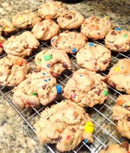 Peanut Butter Choc Chip M&M Cookies